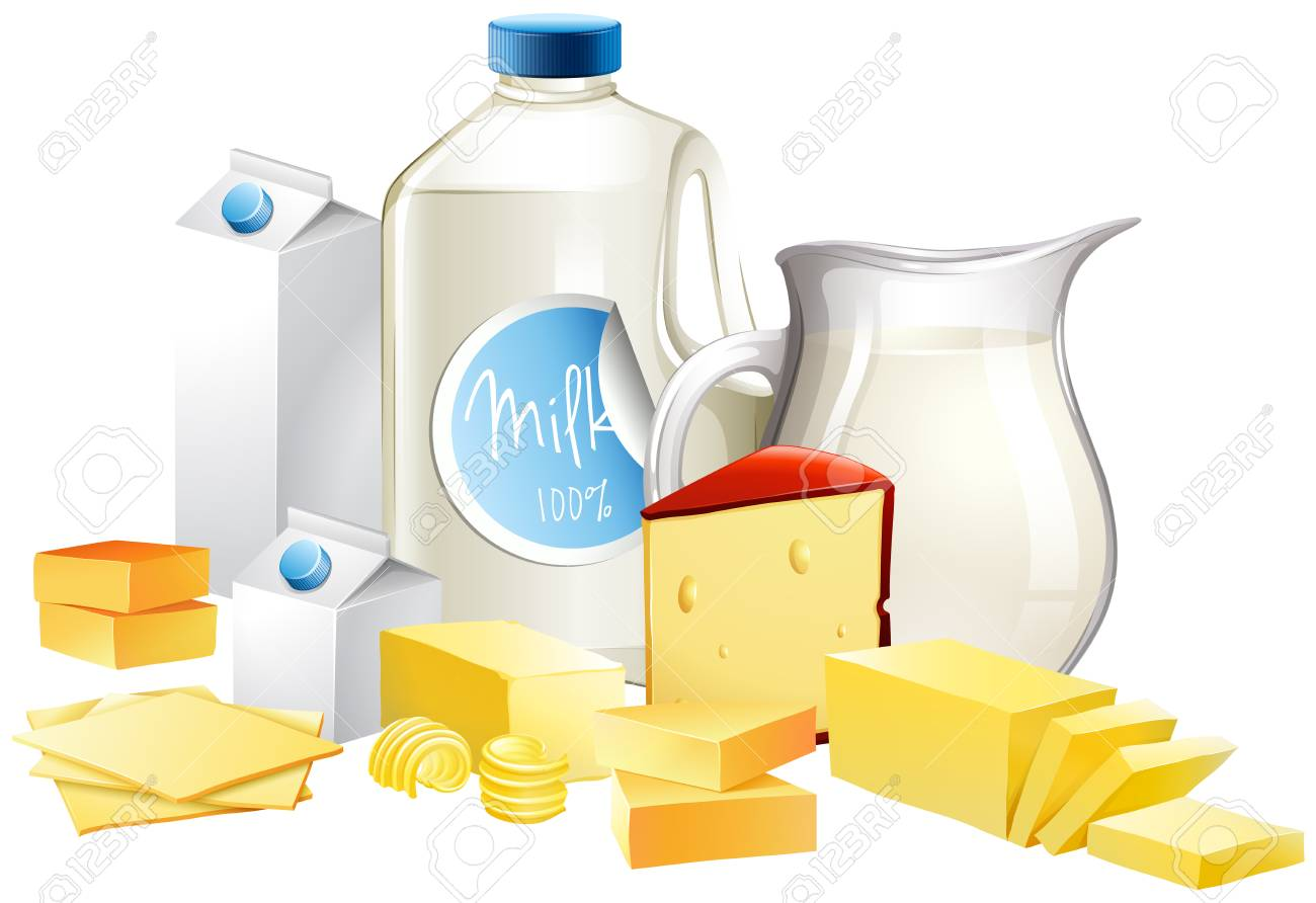 hight resolution of different types of dairy products illustration stock vector 68435812