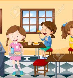 children having lunch in canteen illustration illustration [ 1300 x 670 Pixel ]