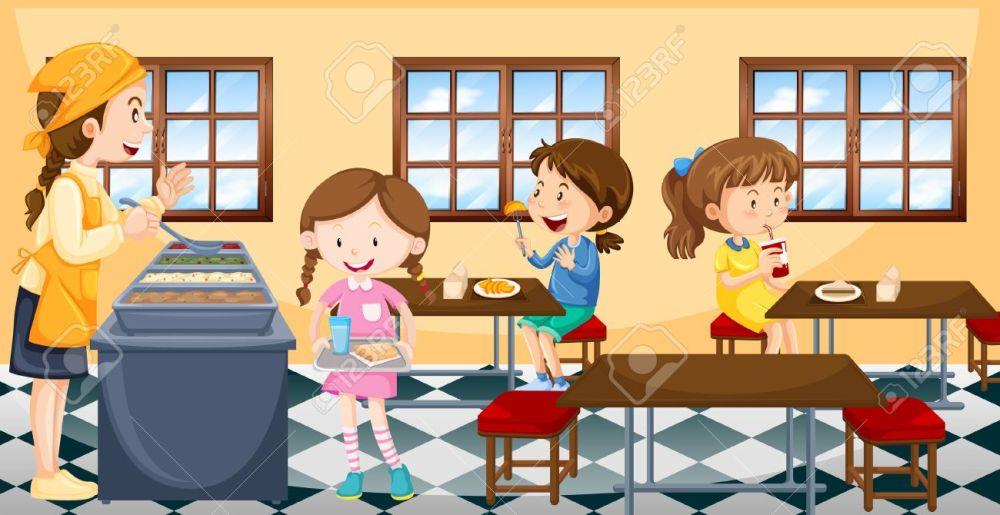 medium resolution of children having lunch in canteen illustration illustration