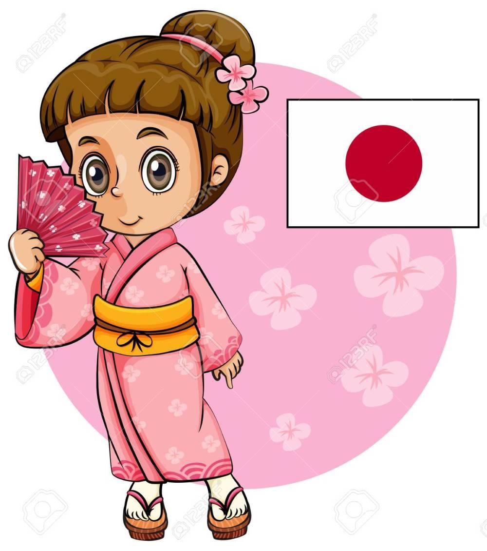 medium resolution of japanese girl in pink kimono and japan flag illustration stock vector 76425117