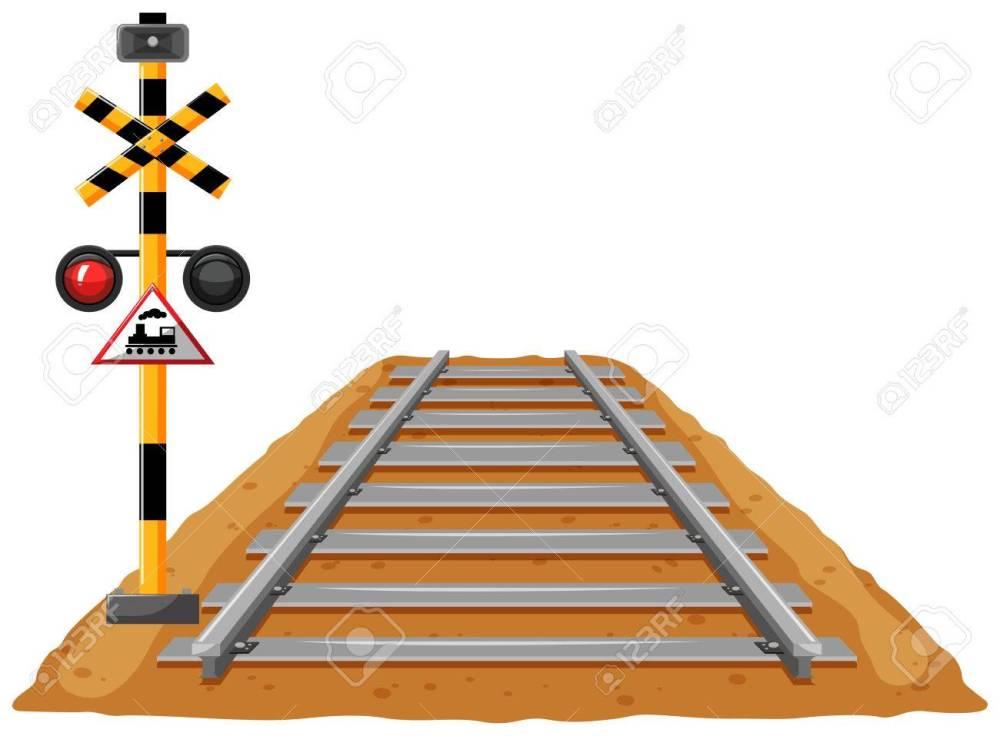 medium resolution of train track and light signal pole illustration stock vector 77014610