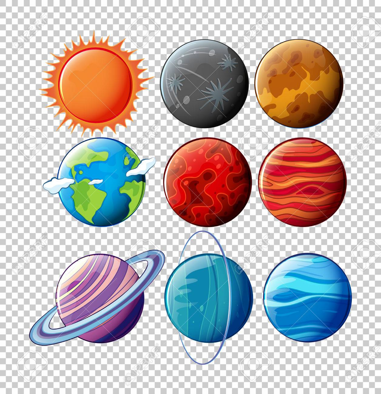 hight resolution of different planets in solar system on transparent background illustration stock vector 78779518