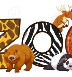 font design for word zoo illustration stock vector 80862520 [ 1300 x 625 Pixel ]