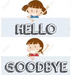 girls saying hello and goodbye illustration stock vector 80926521 [ 1182 x 1300 Pixel ]