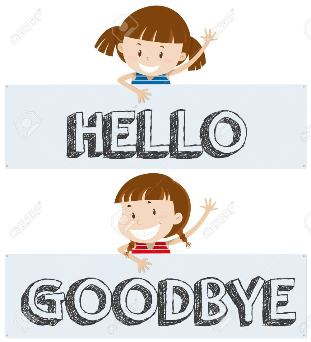 medium resolution of girls saying hello and goodbye illustration stock vector 80926521