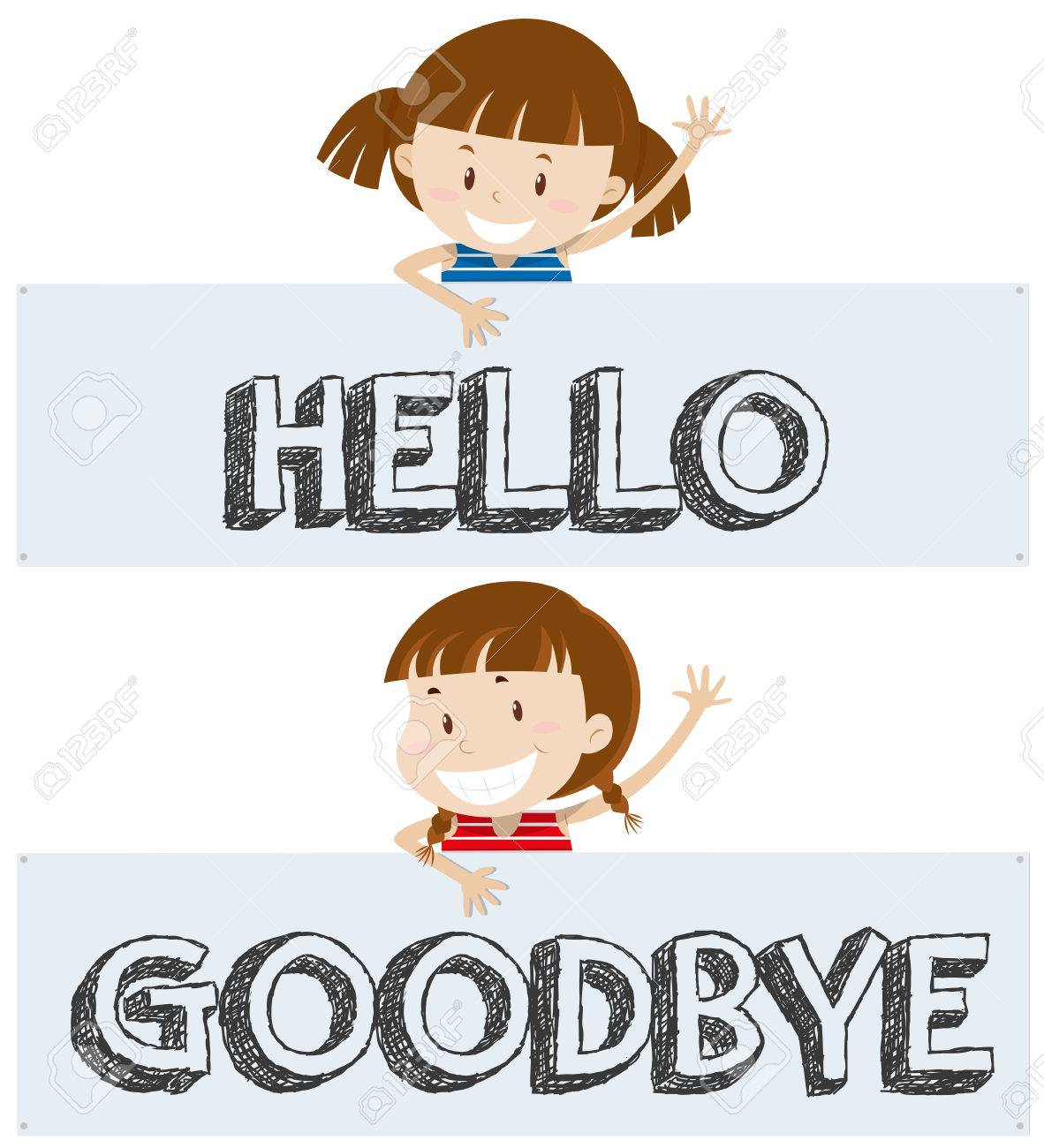 hight resolution of girls saying hello and goodbye illustration stock vector 80926521