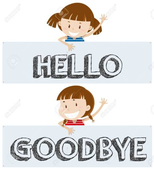 small resolution of girls saying hello and goodbye illustration stock vector 80926521