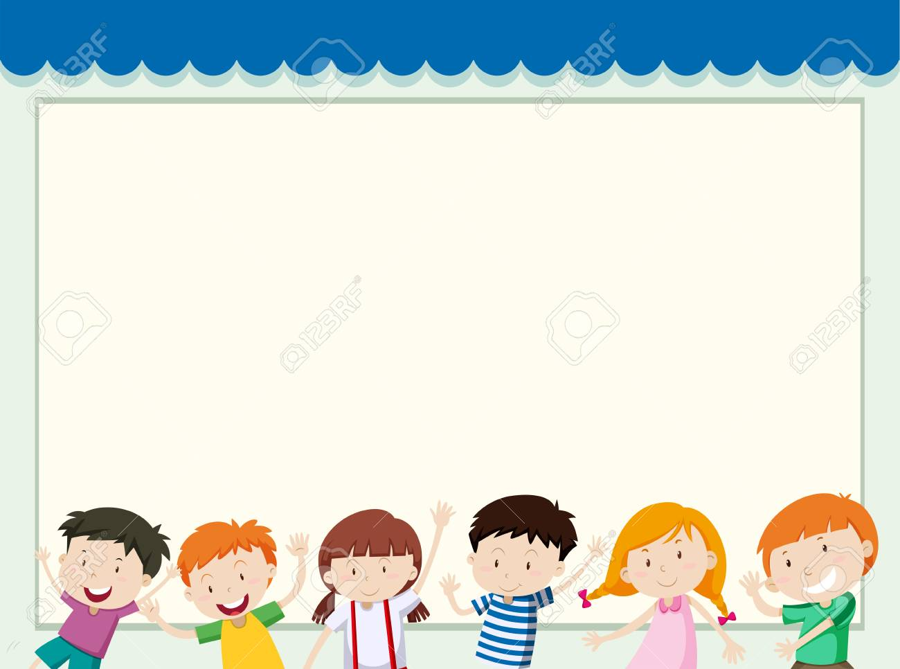 hight resolution of border template with children in background illustration stock vector 81697608