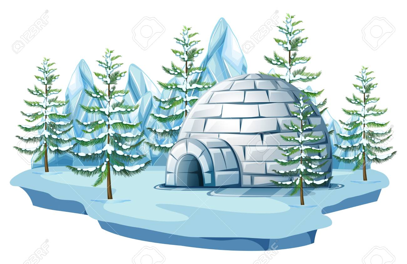 hight resolution of igloo at the arctic land illustration stock vector 83395682