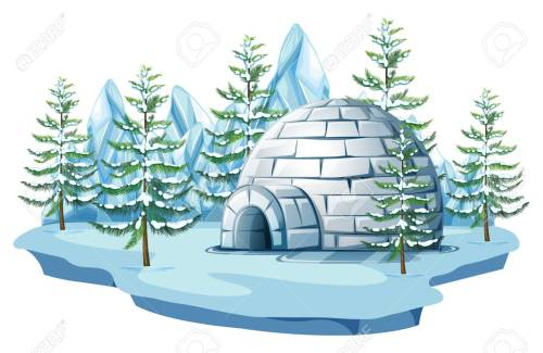 small resolution of igloo at the arctic land illustration stock vector 83395682