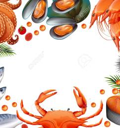 border template with different kinds of seafood illustration stock vector 90455457 [ 1300 x 997 Pixel ]