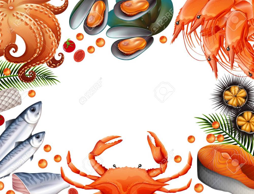 medium resolution of border template with different kinds of seafood illustration stock vector 90455457
