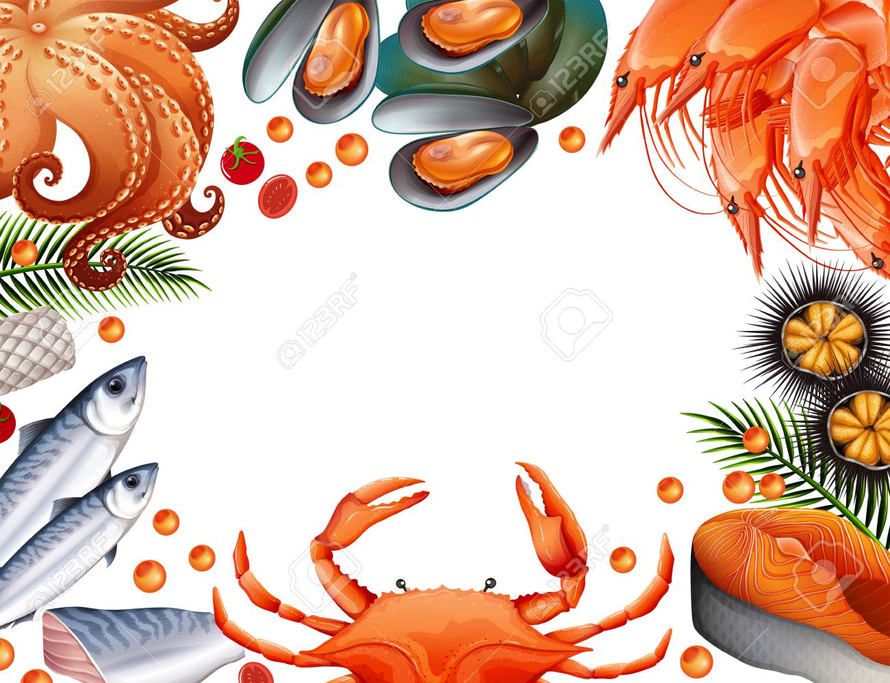 hight resolution of border template with different kinds of seafood illustration stock vector 90455457