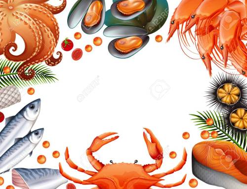 small resolution of border template with different kinds of seafood illustration stock vector 90455457