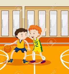 two boys playing basketball in the gym illustration stock vector 90455544 [ 1300 x 825 Pixel ]