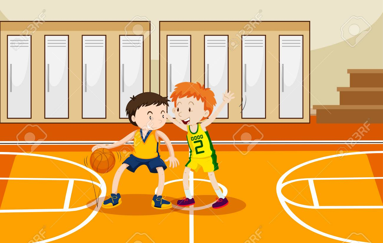 hight resolution of two boys playing basketball in the gym illustration stock vector 90455544