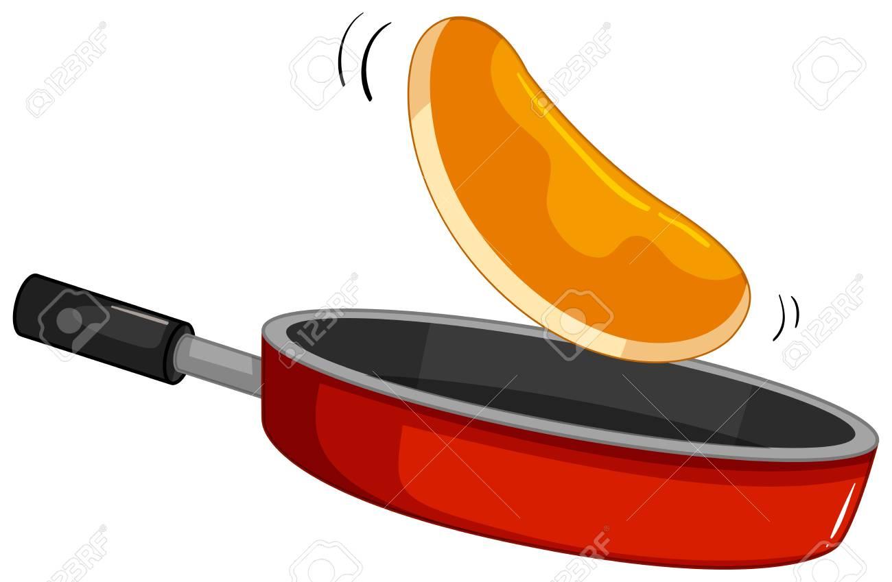 hight resolution of pancake flipping on the pan illustration stock vector 98357286