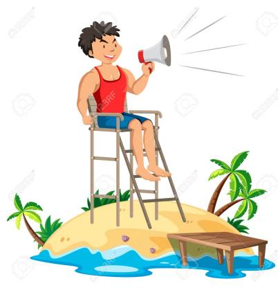 This is a clipart image of a lifeguard who is monitoring the pools