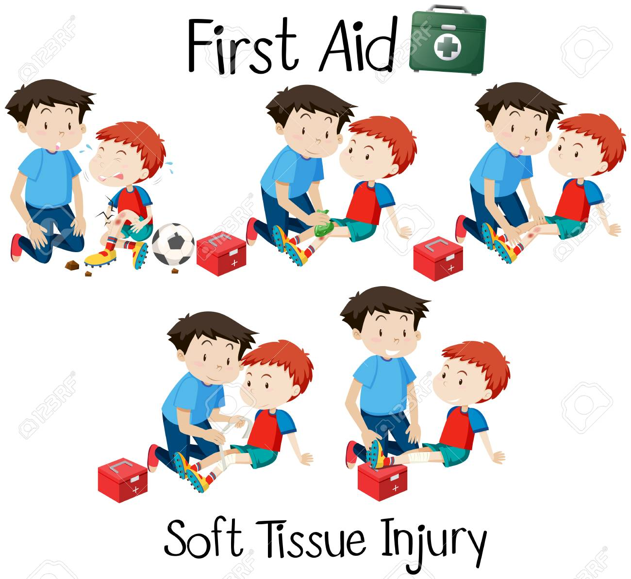 hight resolution of first aid soft tissue injury illustration stock vector 112115170