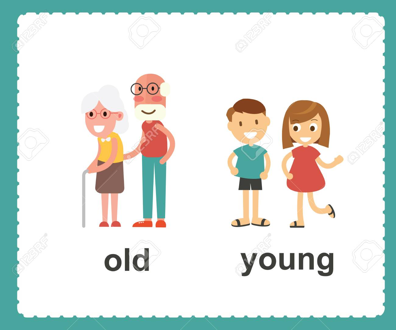 hight resolution of opposite english words showing old and young vector illustration stock vector 100177298