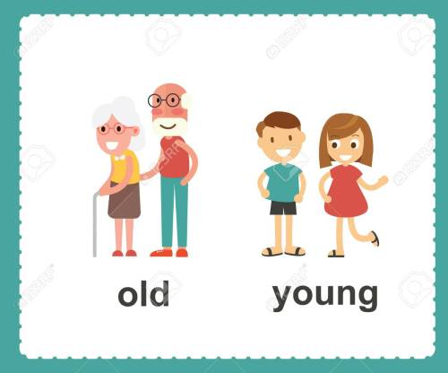 small resolution of opposite english words showing old and young vector illustration stock vector 100177298