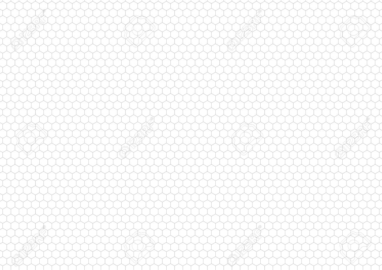 Gray Hexagon Grid On White, A4 Size Horizontal Background Stock Vector -  57913557