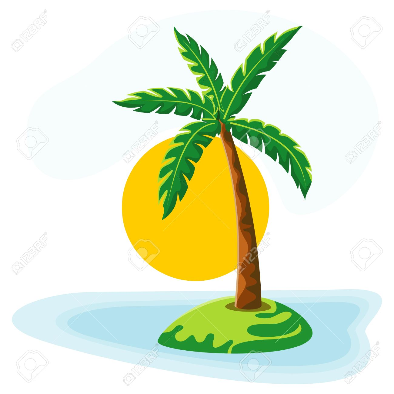 hight resolution of palm tree sea sun and sky stock vector 10443394