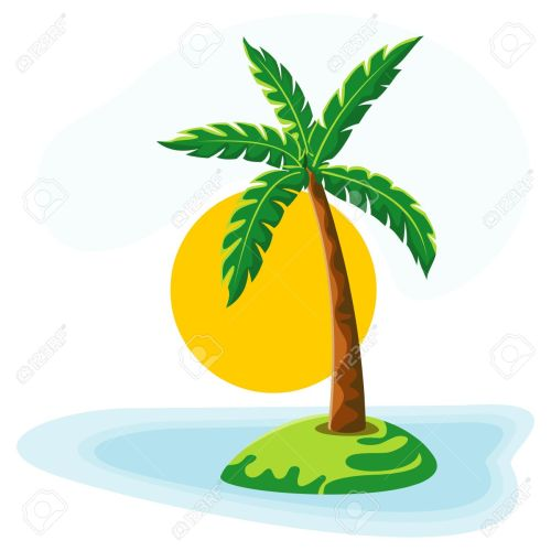 small resolution of palm tree sea sun and sky stock vector 10443394