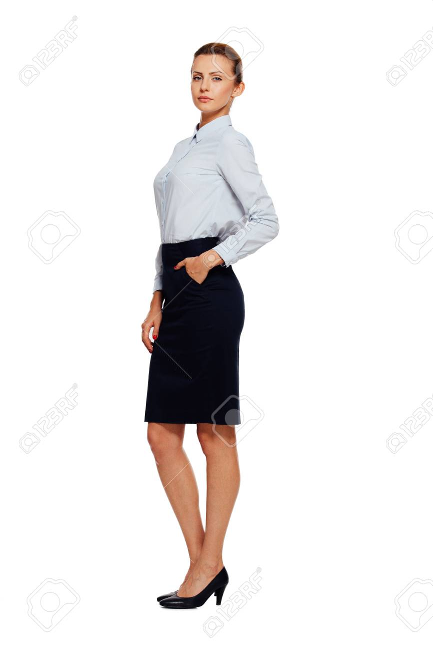 Caucasian Beautiful Businesswoman Office Outfit Standing Isolated Stock Photo Picture And Royalty Free Image Image 48469273