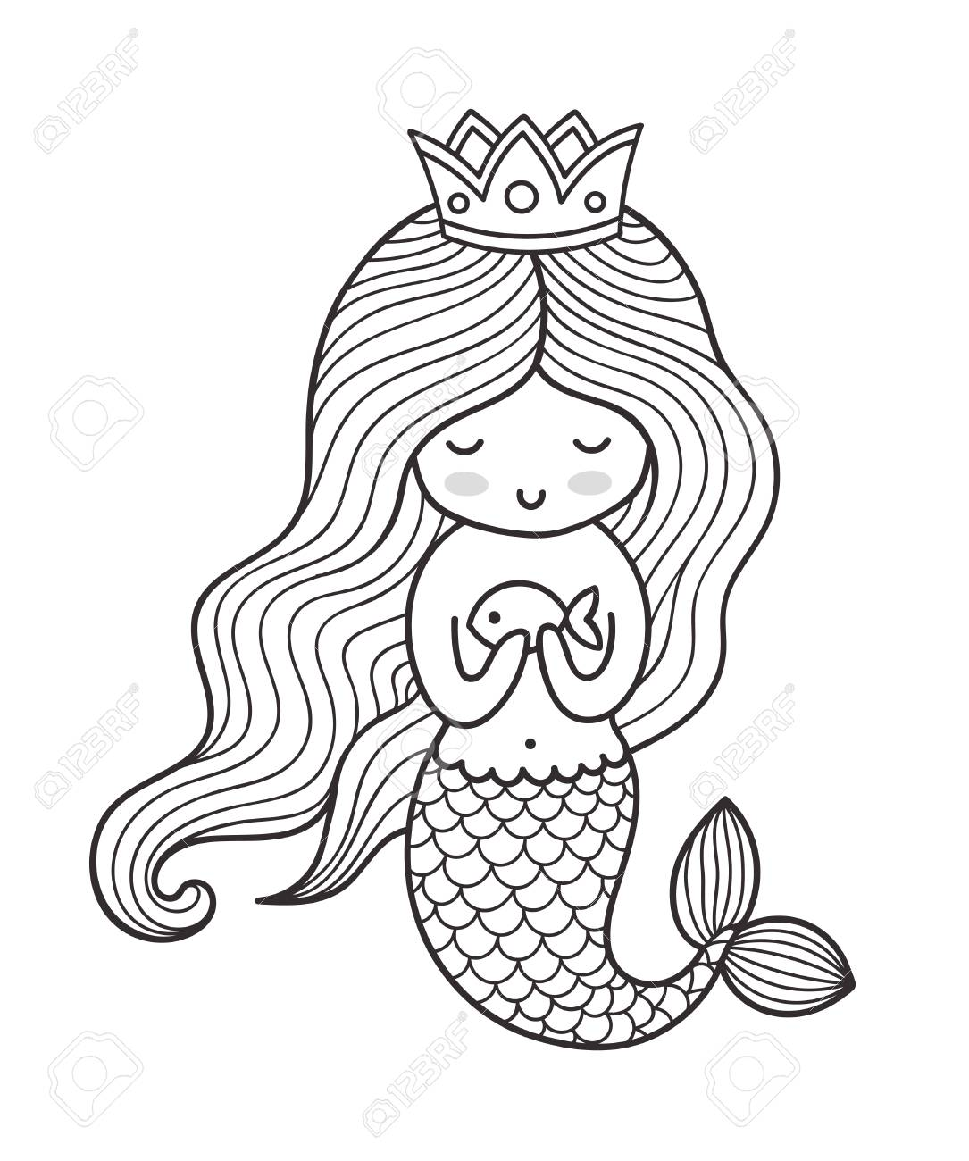 mermaid with long curly