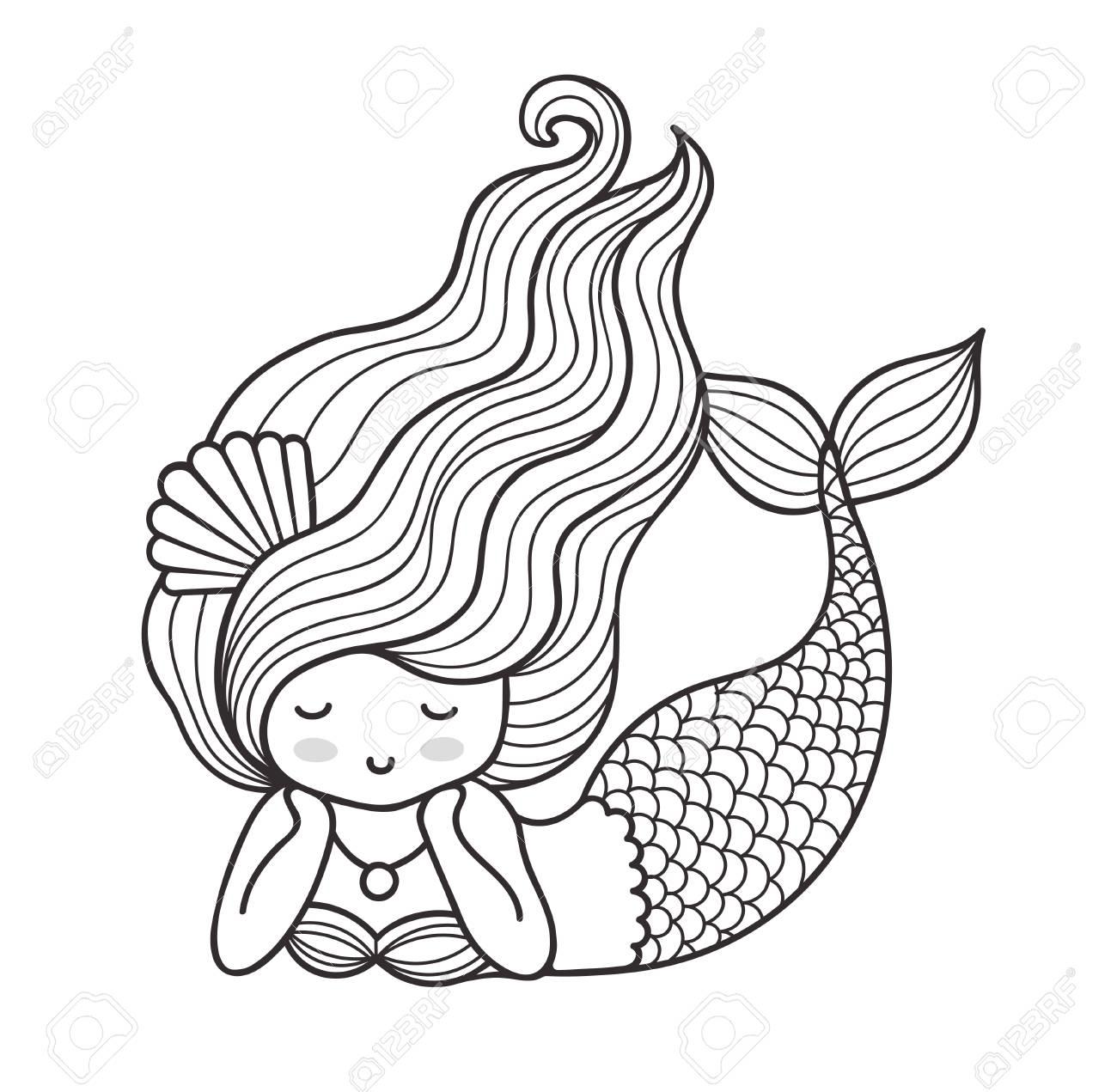 dreamy lying mermaid with