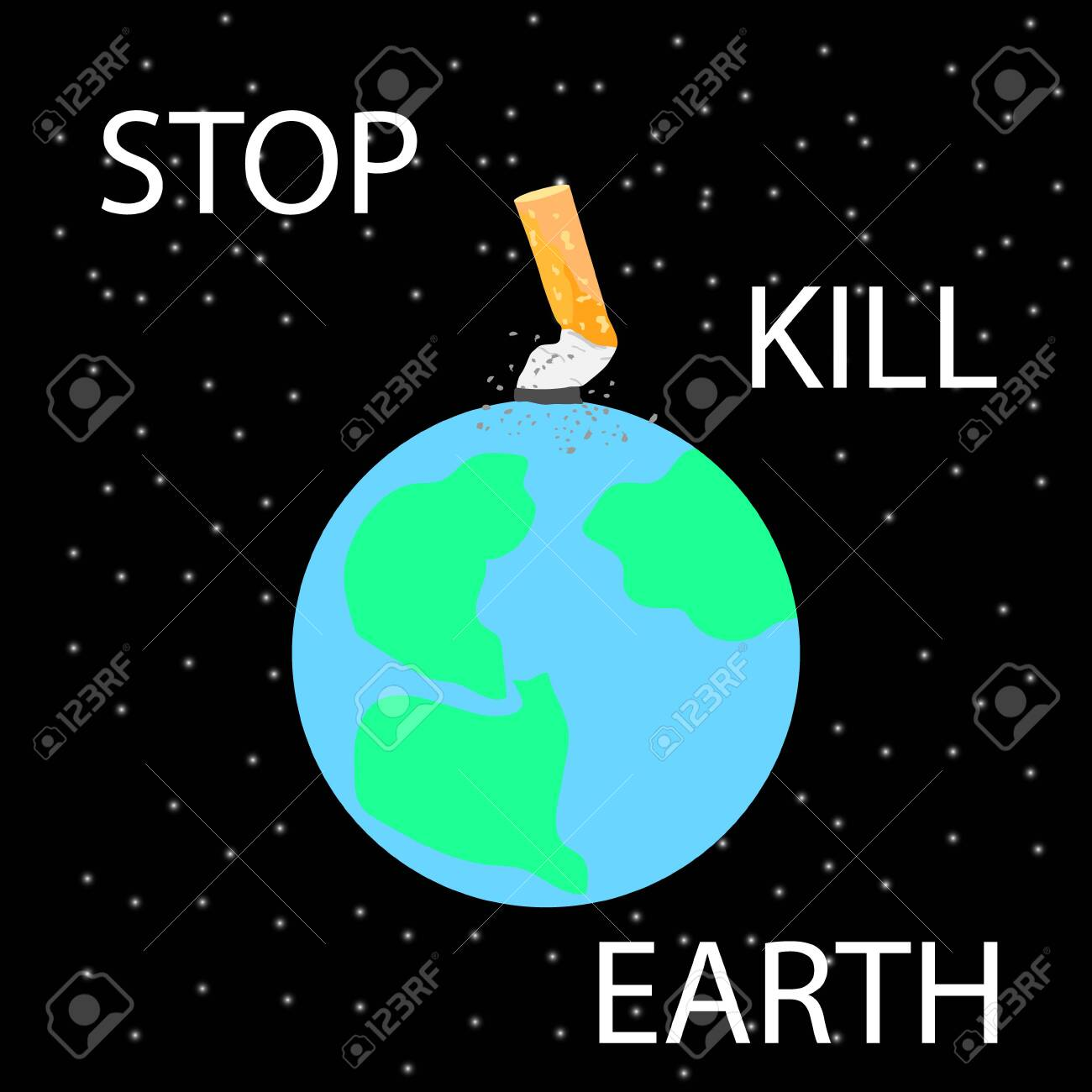 cigarette stub extinguished on planet earth in space anti smoking