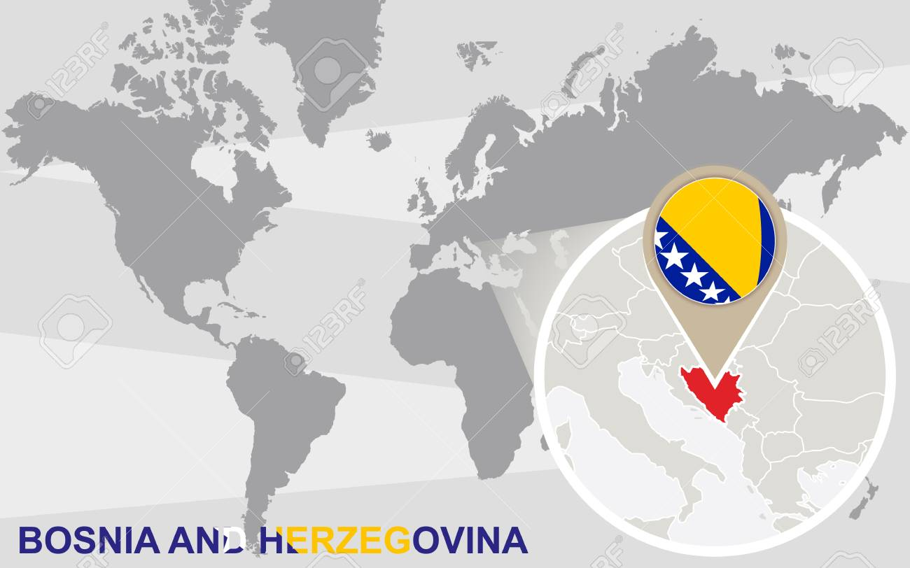 World Map With Magnified Bosnia And Herzegovina Bosnia And Herzegovina Royalty Free Cliparts Vectors And Stock Illustration Image 47649878