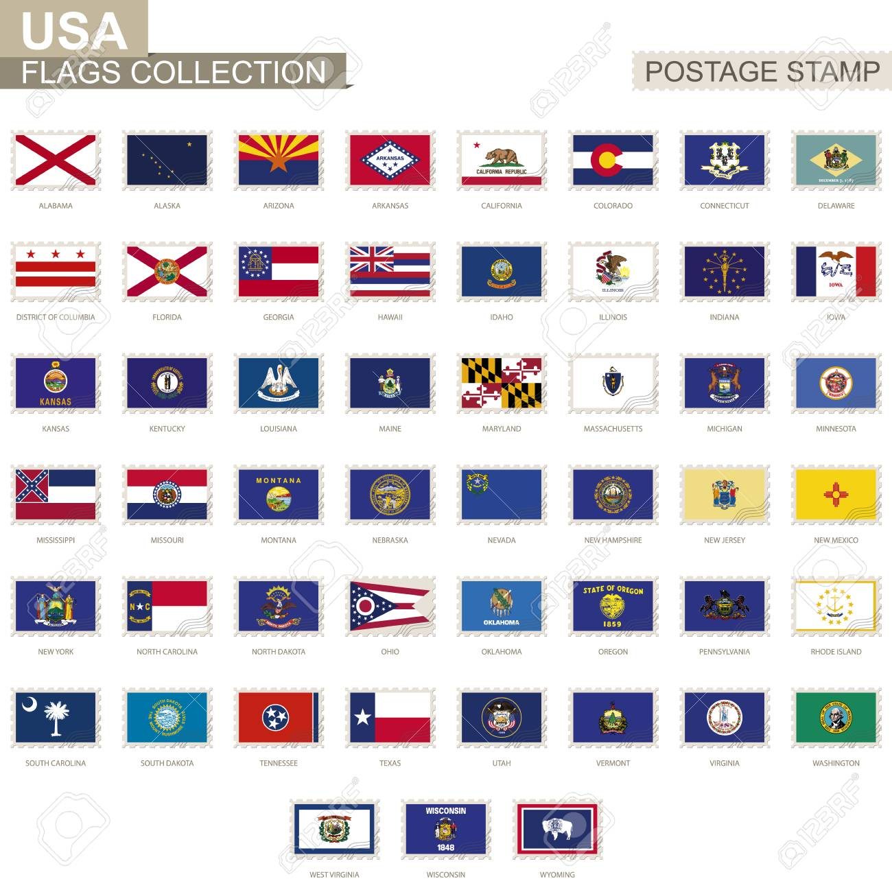 postage stamp with usa