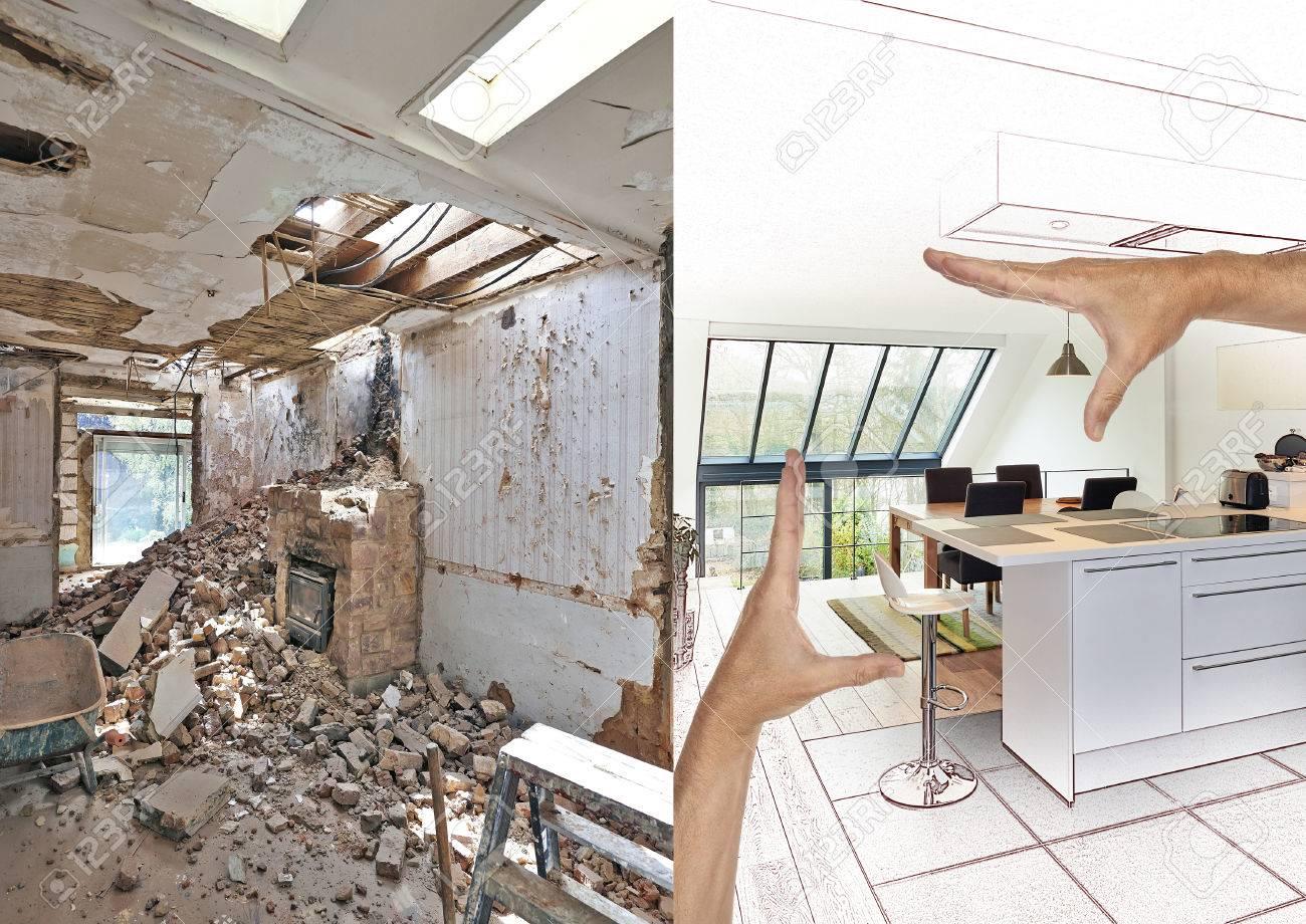 https fr 123rf com photo 83753701 dessin et planification cuisine ouverte moderne dans maison r c3 a9nov c3 a9e avant et apr c3 a8s html