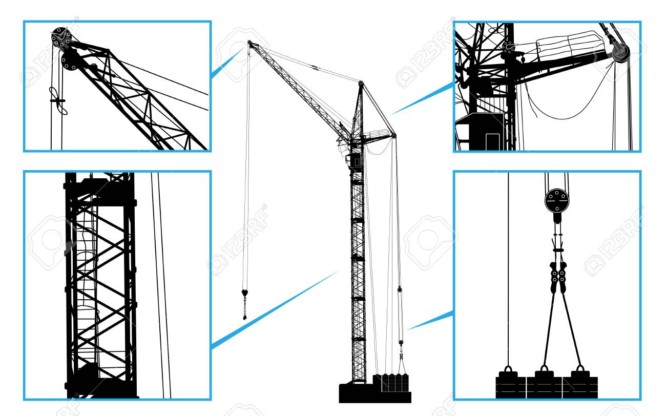 hight resolution of high detailed vector hoisting crane vector illustration royalty chain hoist diagram high detailed vector hoisting crane