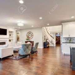Beautiful Living Room Images Decorating Wall In Luxury Home With View Of Kitchen And Entry Stock Photo 44866317
