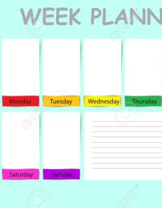 Vector weekly planner containinig timeline place for daily goals  chart notes and white charts each day of the week ready your text also rh rf