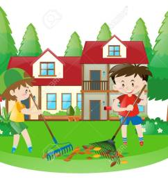 scene with two boys raking dried leaves illustration stock vector 63486213 [ 1300 x 983 Pixel ]