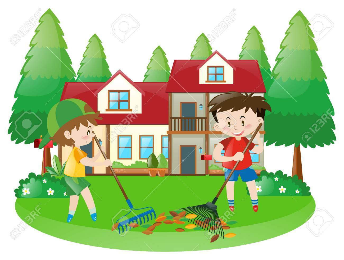 hight resolution of scene with two boys raking dried leaves illustration stock vector 63486213