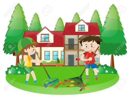 small resolution of scene with two boys raking dried leaves illustration stock vector 63486213