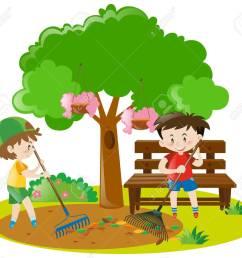 two boys raking leaves in garden illustration stock vector 63486855 [ 1300 x 1159 Pixel ]
