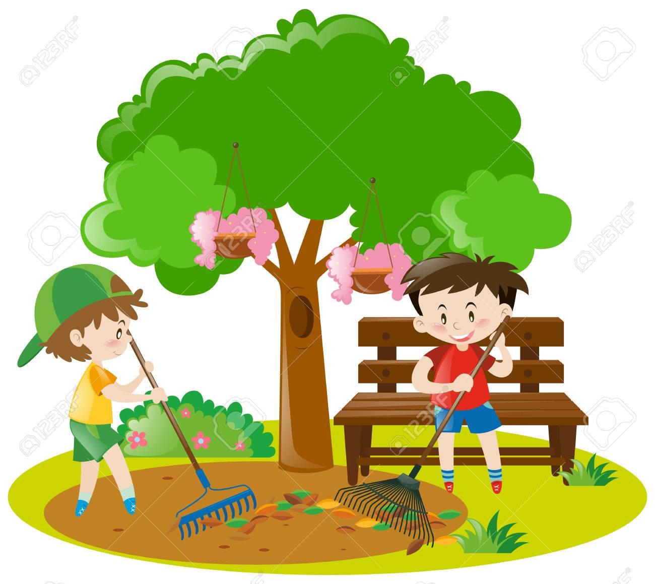 hight resolution of two boys raking leaves in garden illustration stock vector 63486855