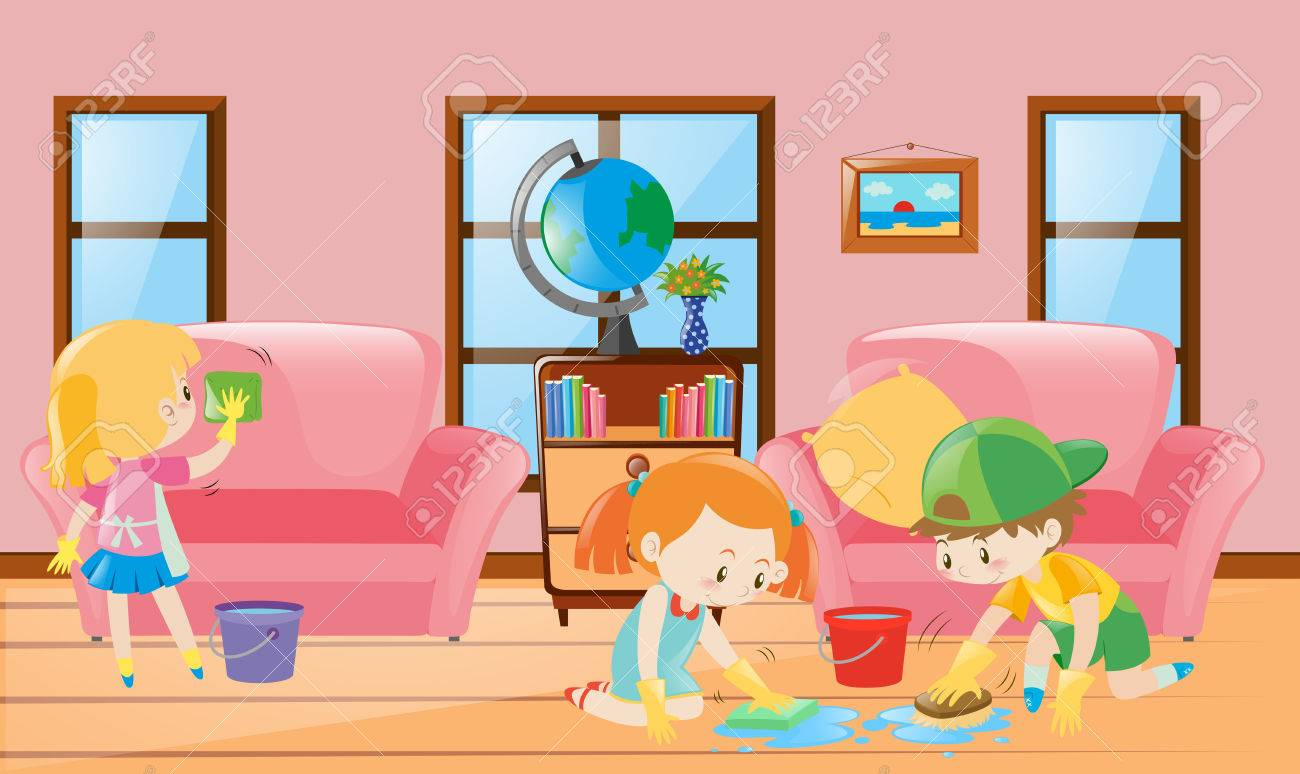 living room pictures clipart window treatments for formal three children cleaning illustration royalty free stock vector 63487952