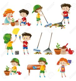 children doing different chores illustration stock vector 63490607 [ 1266 x 1300 Pixel ]