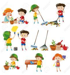 children doing different chores illustration stock vector 63490607 [ 1266 x 1300 Pixel ]