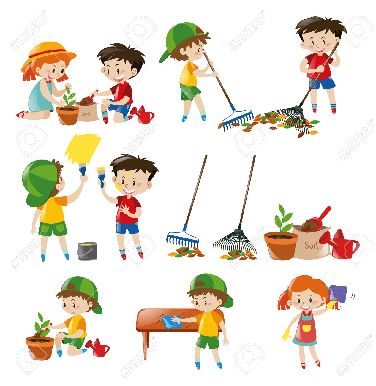 hight resolution of children doing different chores illustration stock vector 63490607