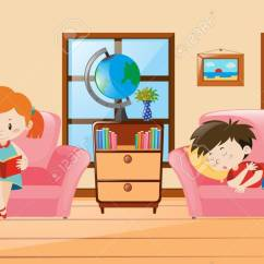 Living Room Pictures Clipart Trunks Boy And Girl In Illustration Royalty Free Cliparts Stock Vector 63490613