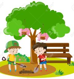 two boys digging hole in garden illustration stock vector 63492324 [ 1300 x 1155 Pixel ]