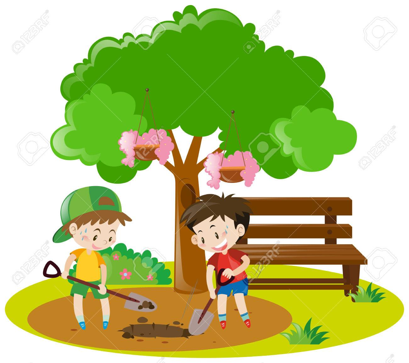 hight resolution of two boys digging hole in garden illustration stock vector 63492324